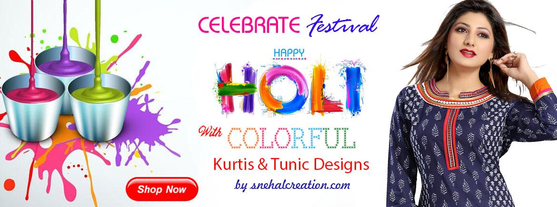 Holi Festival Colorful Kurti Collection